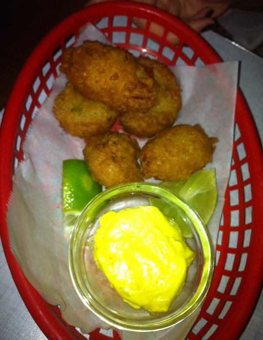 Cod Fish Fritter with Curry Dipping Sauce